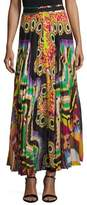 Roberto Cavalli Printed Pleated Maxi Skirt, Green/Multi