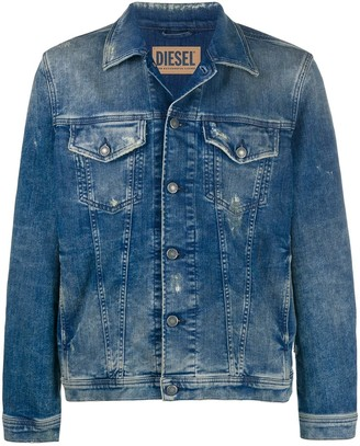 Diesel Trucker jacket in ripped denim