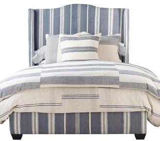 Imagine Home Emerson Queen Upholstered Standard Bed Color: Navy/ Natural Stripe