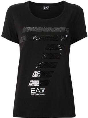EA7 Emporio Armani sequinned 7 logo T-shirt
