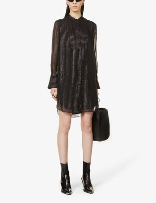 The Kooples Semi-sheer silk-blend mini shirt dress