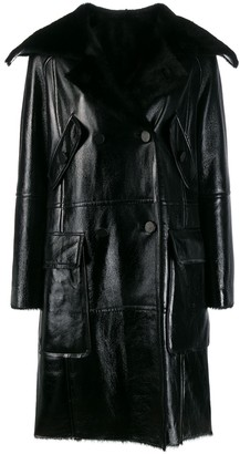 Yves Salomon double-breasted leather coat