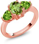 Gem Stone King 2.11 Ct Genuine Oval Peridot Gemstone 18k Rose Gold Three Stone Ring