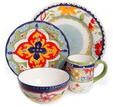 Gibson Elite Fiore Olivette 4-Piece Place Setting in Red/Blue