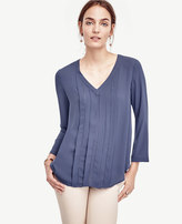 Ann Taylor Pleated Cutout Top