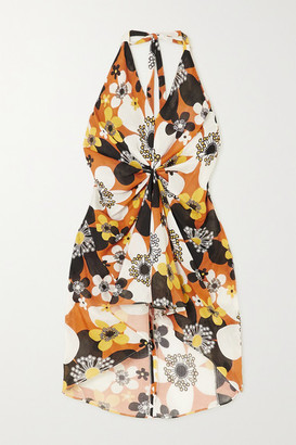 Dodo Bar Or Jeniffer Gathered Floral-print Cotton-voile Halterneck Mini Dress - Brown