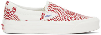 Vans Red and White Check OG Classic Slip-On LX Sneakers