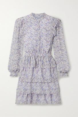 MICHAEL Michael Kors Tiered Printed Chiffon Mini Dress - Lilac