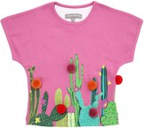 Milk On The Rocks Cactus Print Cotton Jersey Long T-Shirt