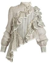 Zimmermann Cavalier high-neck silk and linen-blend top