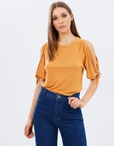 Whistles Tie Cuff Cold Shoulder Linen Tee