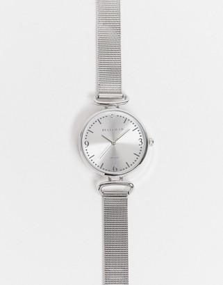 Bellfield mesh bracelet watch in silver