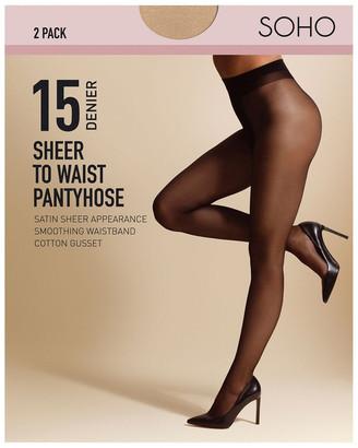 S.O.H.O New York 15D Sheer To Waist 2 Pack Pantyhose Natural