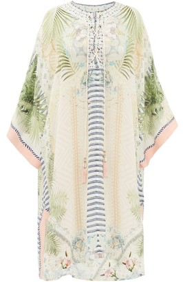 Camilla Beach Shack-print Lace-up Silk Kaftan - Womens - White Print