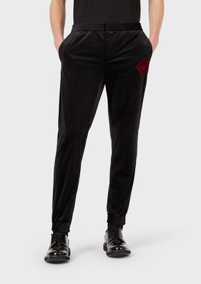 Emporio Armani Velvet Jogging Trousers With Logo Patch