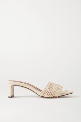 Souliers Martinez Olga Woven Leather Mules - Off-white