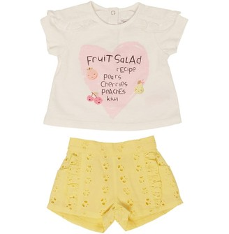 MINOTI Baby Girls Two Piece Top & Broderie Anglais Shorts Set Yellow