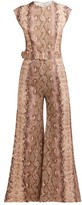 Emilia Wickstead Barbara Python Print Cropped-leg Jumpsuit - Womens - Pink Print