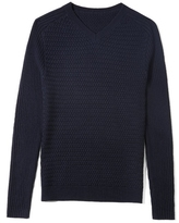 Vince Camuto Mixed-stitch V-neck Sweater