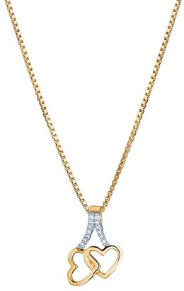 Oravo 14K Yellow Gold Diamond Accent Interlocking Hearts Pendant with 18-inch Chain