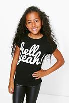 boohoo Girls Hell Yeah Turn Cuff T-Shirt black
