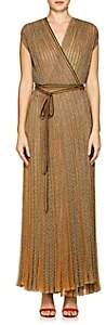 Missoni Women's Metallic Rib-Knit Wrap Dress-Gold