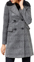 Warehouse Check Faux Fur Collar Coat, Black Pattern