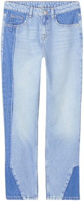Find. Amazon Brand Women's Straight Mid Rise Contrast Panel Jeans