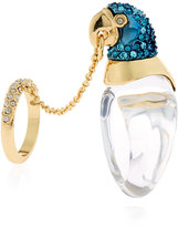 Alexis Bittar Chained Crystal Parrot Ring, Size 7