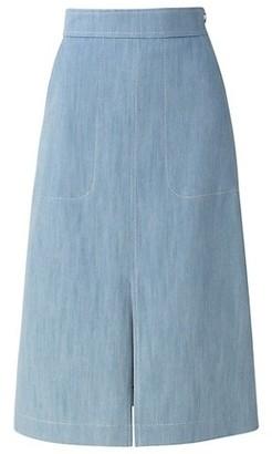 Akris Punto Washed Denim Stretch A-Line Skirt