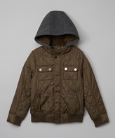 Urban Republic Olive Quilted Bomber Jacket - Boys