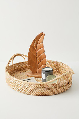 Anthropologie Rattan Decorative Tray By in Beige Size ALL