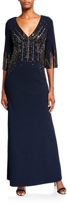 Aidan Mattox Beaded V-Neck 1/2-Sleeve Crepe Gown
