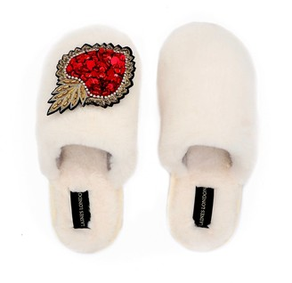 Laines London Closed Toe Cream Fluffy Slippers With Statement Heart