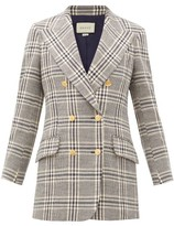 Gucci Checked Wool-blend Double-breasted Blazer - Womens - Blue White