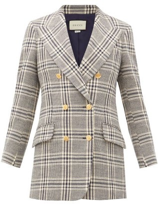 Gucci Checked Wool-blend Double-breasted Jacket - Womens - Blue White