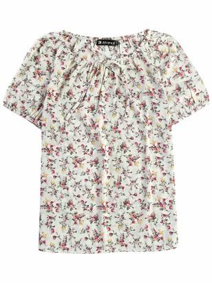 Allegra K Women's Floral Scoop Neck Self Tie Puff Sleeve Peasant Blouse Beige Floral 4