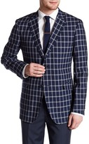 Zanetti Catania Windowpane Two Button Notch Lapel Wool Trim Fit Blazer