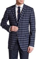 Zanetti Catania Windowpane Two Button Notch Lapel Wool Trim Fit Blazer