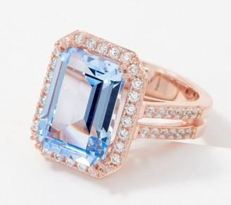Diamonique Colors of 8.10 Carat Emerald Cut Ring, Sterling