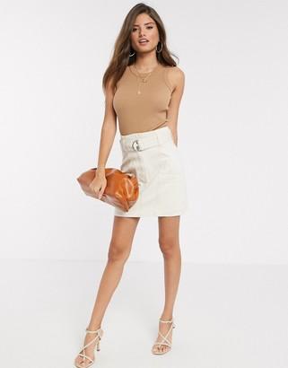 Stradivarius mini skirt with belt in ecru