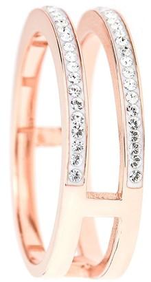 Evoke Rose Gold Plated Sterling Silver Swarovski Crystal Double Band Ring