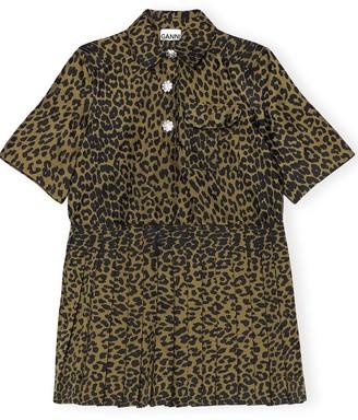 Ganni Crispy Jacquard Dress in Olive Drab