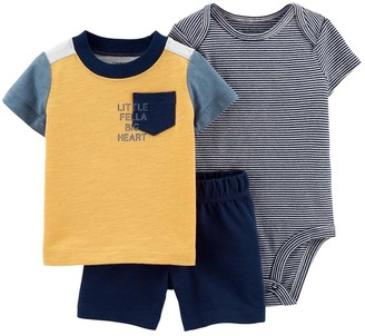 Carter's Boys' Infant Bodysuits Yellow - Yellow 'Little Fella' Crewneck Top Set - Newborn & Infant