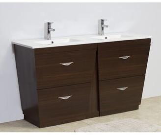 "American Imaginations 48"" Double Modern Bathroom Vanity Set Hardware Finish: Aluminum, Faucet Mount: Single"