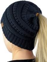C&C C.C BeanieTail Soft Stretch Cable Knit Messy High Bun Ponytail Beanie Hat, Dark Melange Gray Metallic