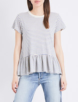 The Great The Ruffle striped jersey T-shirt