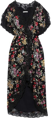 Alice + Olivia Adele Floral-print Fil Coupe Chiffon Midi Wrap Dress