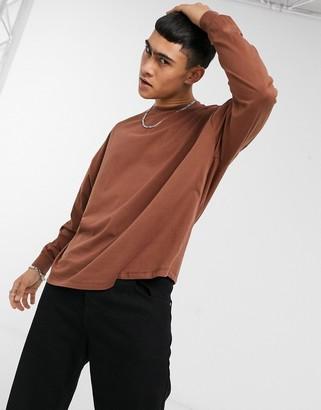 ASOS DESIGN long sleeve oversized t-shirt in brown