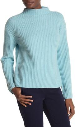 Vince Mock Neck Raglan Sleeve Ribbed Knit Wool Blend Sweater